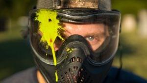 Impacto paintball en máscara